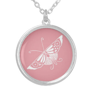 Stylized Deco butterfly  - shell pink Silver Plated Necklace