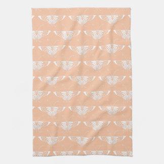Stylized Deco butterfly  - soft peach Kitchen Towel