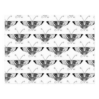 Stylized Deco butterfly  - white and black Post Cards