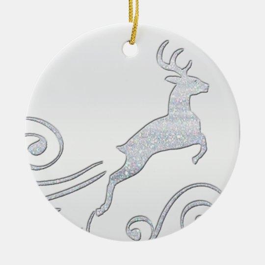 Stylized Deer Ceramic Ornament