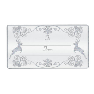 Stylized Deer Gift Tag Shipping Label