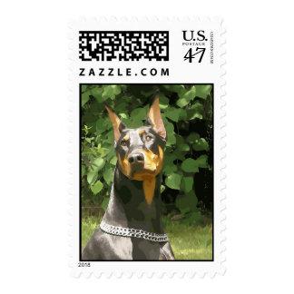 Stylized Doberman on Postage Stamp (v 9-2)