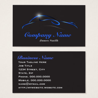 Stylized Elegant Blue on Black Auto Detail EU Business Card