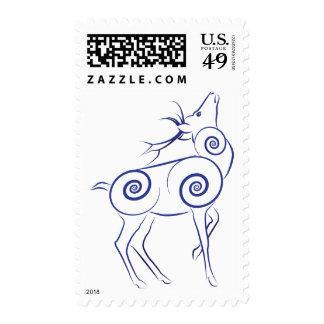 Stylized Elk Stamp _ Blue (Lori Corbett)