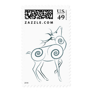 Stylized Elk Stamp _ Green (Lori Corbett)