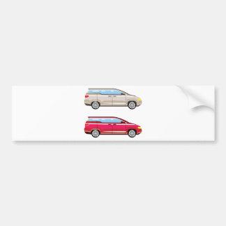 Stylized Family Van Vector Bumper Sticker