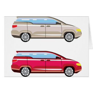 Stylized Family Van Vector Card