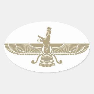 Stylized Faravahar Oval Stickers