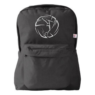 Stylized Female Volleyball Player with Ball Backpack