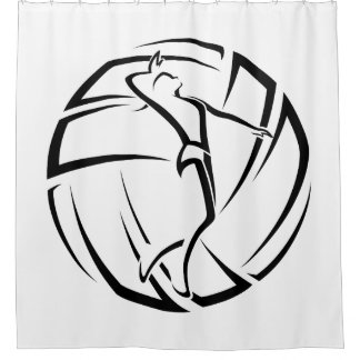 Stylized female Volleyball Player with Ball Shower Curtain