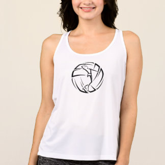 Stylized Female Volleyball Player with Ball Tank Top