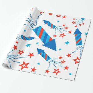 Stylized Fireworks Freedom Pattern Wrapping Paper