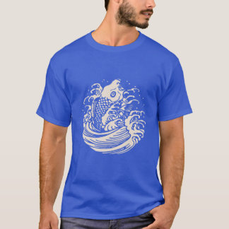 Stylized Fish Jumping in Wave T-Shirt