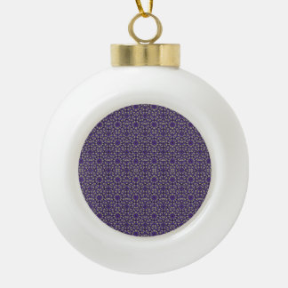 Stylized Floral Check Ceramic Ball Christmas Ornament