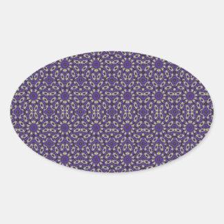 Stylized Floral Check Oval Sticker