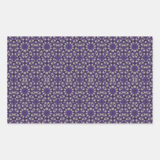 Stylized Floral Check Rectangular Sticker