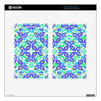 Stylized Floral Check Seamless Pattern Decal For Kindle Fire