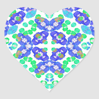 Stylized Floral Check Seamless Pattern Heart Sticker