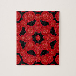 Stylized Floral Check Seamless Pattern Jigsaw Puzzle