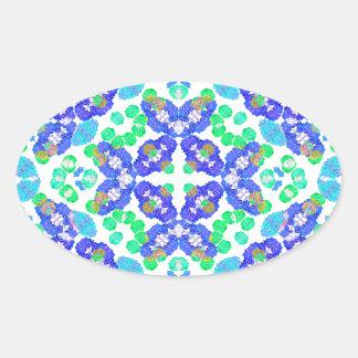 Stylized Floral Check Seamless Pattern Oval Sticker