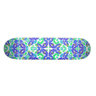 Stylized Floral Check Seamless Pattern Skateboard