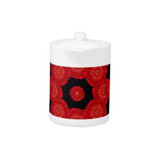 Stylized Floral Check Seamless Pattern Teapot