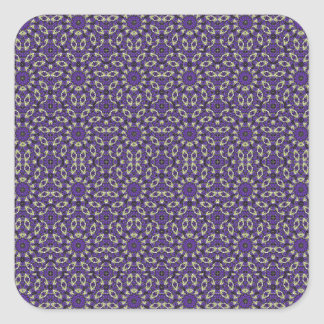 Stylized Floral Check Square Sticker