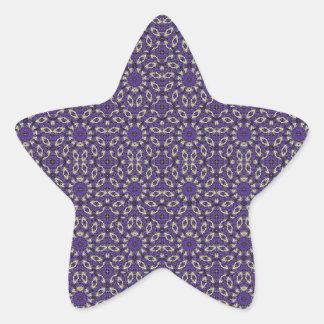 Stylized Floral Check Star Sticker