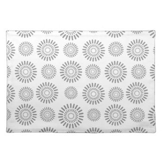 Stylized floral silver gray pattern Placemats