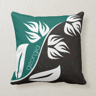 Stylized flower black and teal - choose any color throw pillow