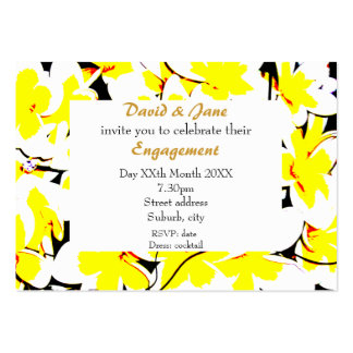 stylized flower bouquet invite large business card
