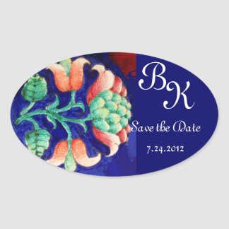 STYLIZED FLOWER,PINK GREEN BLUE FLORAL MONOGRAM OVAL STICKER