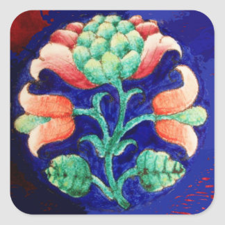 STYLIZED FLOWER/ RED PINK GREEN BLUE FLORAL SQUARE STICKER
