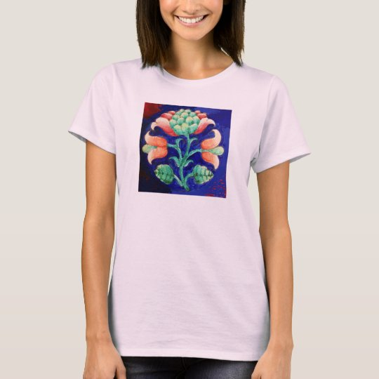 STYLIZED FLOWER/ RED PINK GREEN BLUE FLORAL T-Shirt