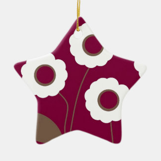 Stylized Flowers, on customizable products. Ceramic Ornament