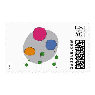 stylized flowers postage