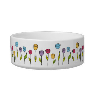 Stylized flowers, various colors bowl
