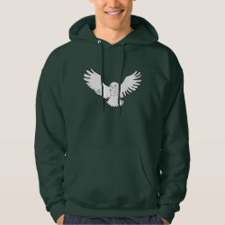 Men's Basic Hooded Sweatshirt with Stylized Flying Snowy Owl design