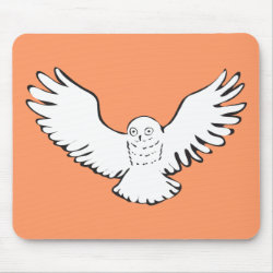 Mousepad with Stylized Flying Snowy Owl design