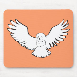 Stylized Flying Snowy Owl Mouse Pad
