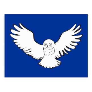 Stylized Flying Snowy Owl Post Card