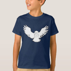 Stylized Flying Snowy Owl Kids' Hanes TAGLESS® T-Shirt
