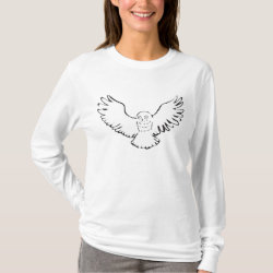 Women's Basic Long Sleeve T-Shirt with Stylized Flying Snowy Owl design