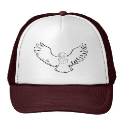 Trucker Hat with Stylized Flying Snowy Owl design