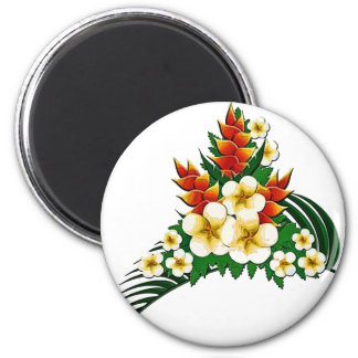 Stylized Ginger & Plumeria Fronds 2 Inch Round Magnet