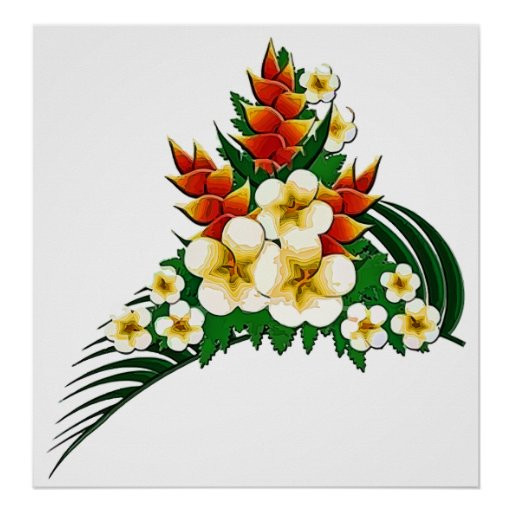 Stylized Ginger & Plumeria Fronds Poster