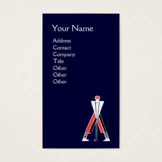 STYLIZED GOLFER ,GOLF INSTRUCTOR RED BLUE MONOGRAM BUSINESS CARD