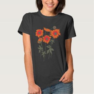 Stylized graphic ragged poppies orange & green T-Shirt
