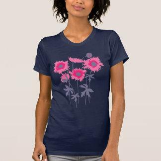 Stylized graphic ragged poppies pink & grey T-Shirt