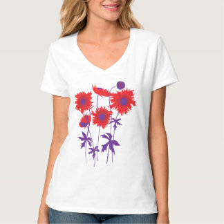 Stylized graphic ragged poppies red & purple t shirts